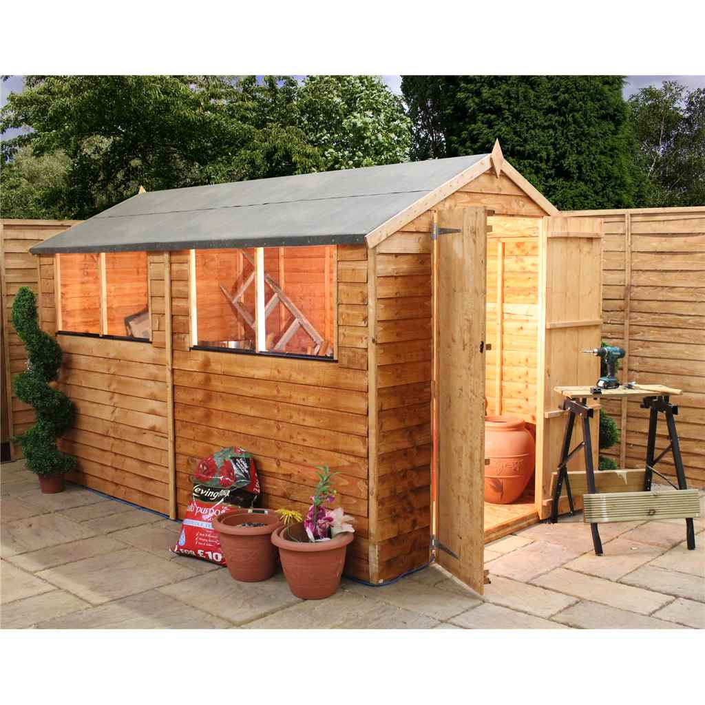 10ft x 6ft Overlap Apex Shed With Double Doors With Double Doors + 4 Windows (10mm Solid OSB Floor)