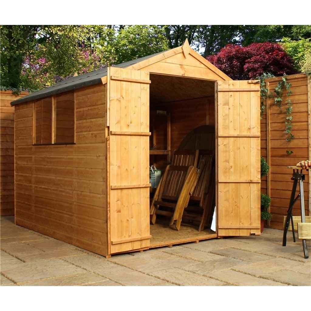8ft x 6ft Tongue and Groove Apex Shed With Double Doors + 2 Windows (Solid 10mm OSB Floor)