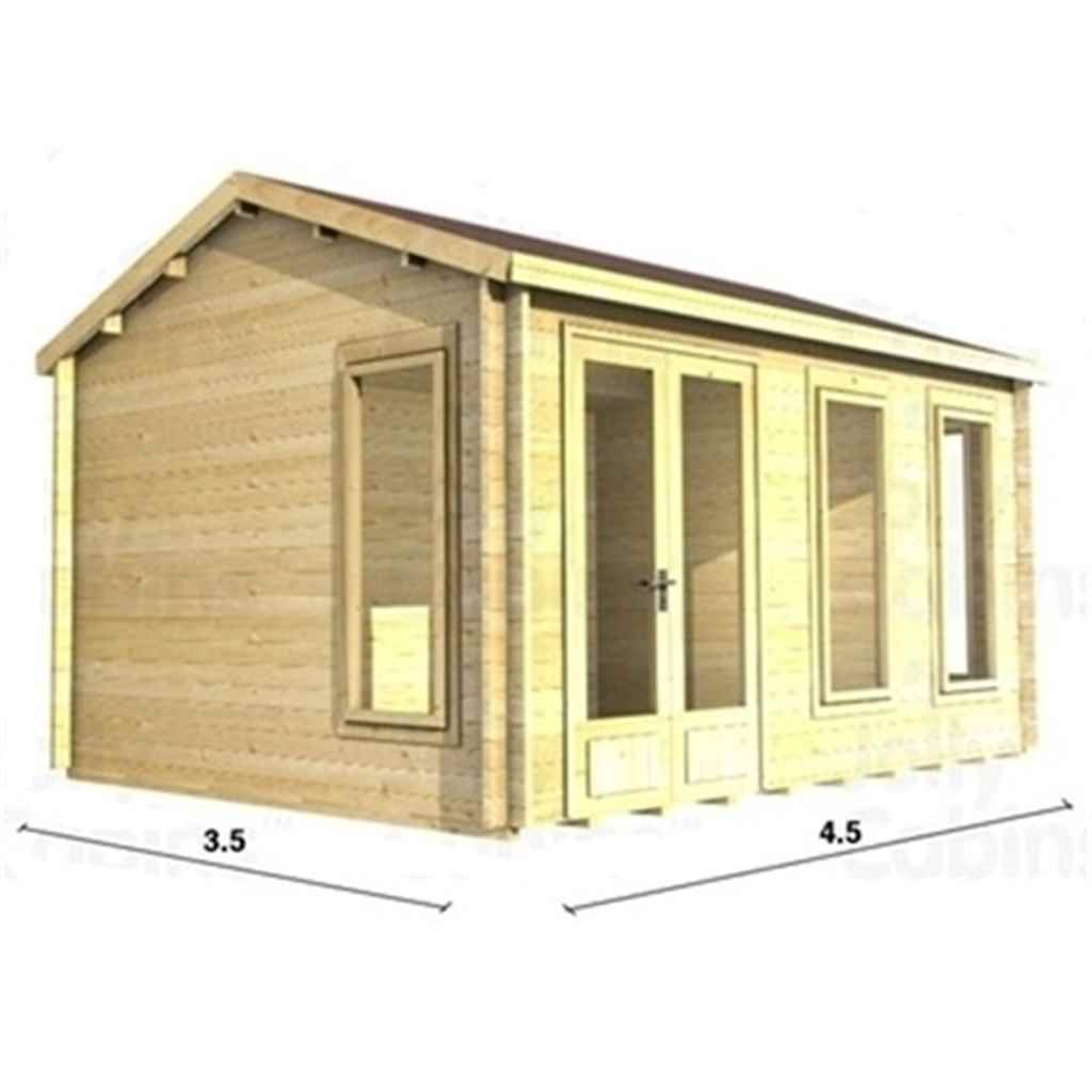 15ft x 12ft (4.5m x 3.5m) Apex Reverse Log Cabin (2076) - Double Glazing + Double Doors - 34mm Wall Thickness