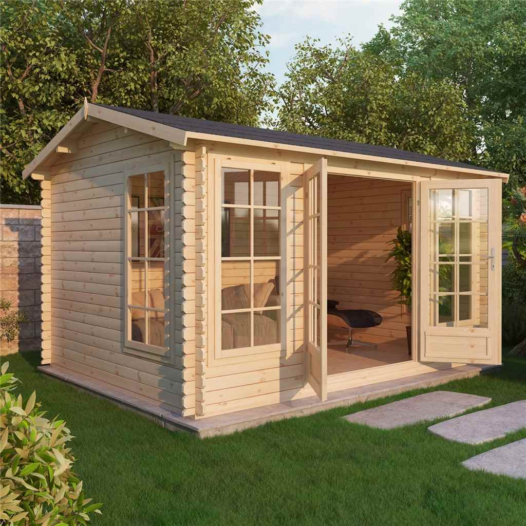 4m x 3m (13ft x 10ft) Apex Log Cabin (Single Glazing) with FREE Floor and Felt (28mm)