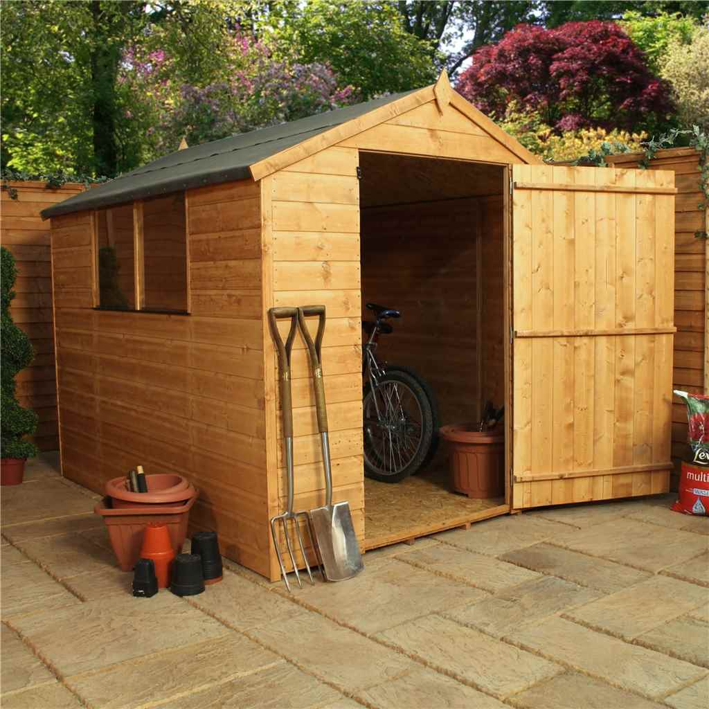 8ft x 6ft Tongue and Groove Apex Shed With Large Door (Solid 10mm OSB Floor)