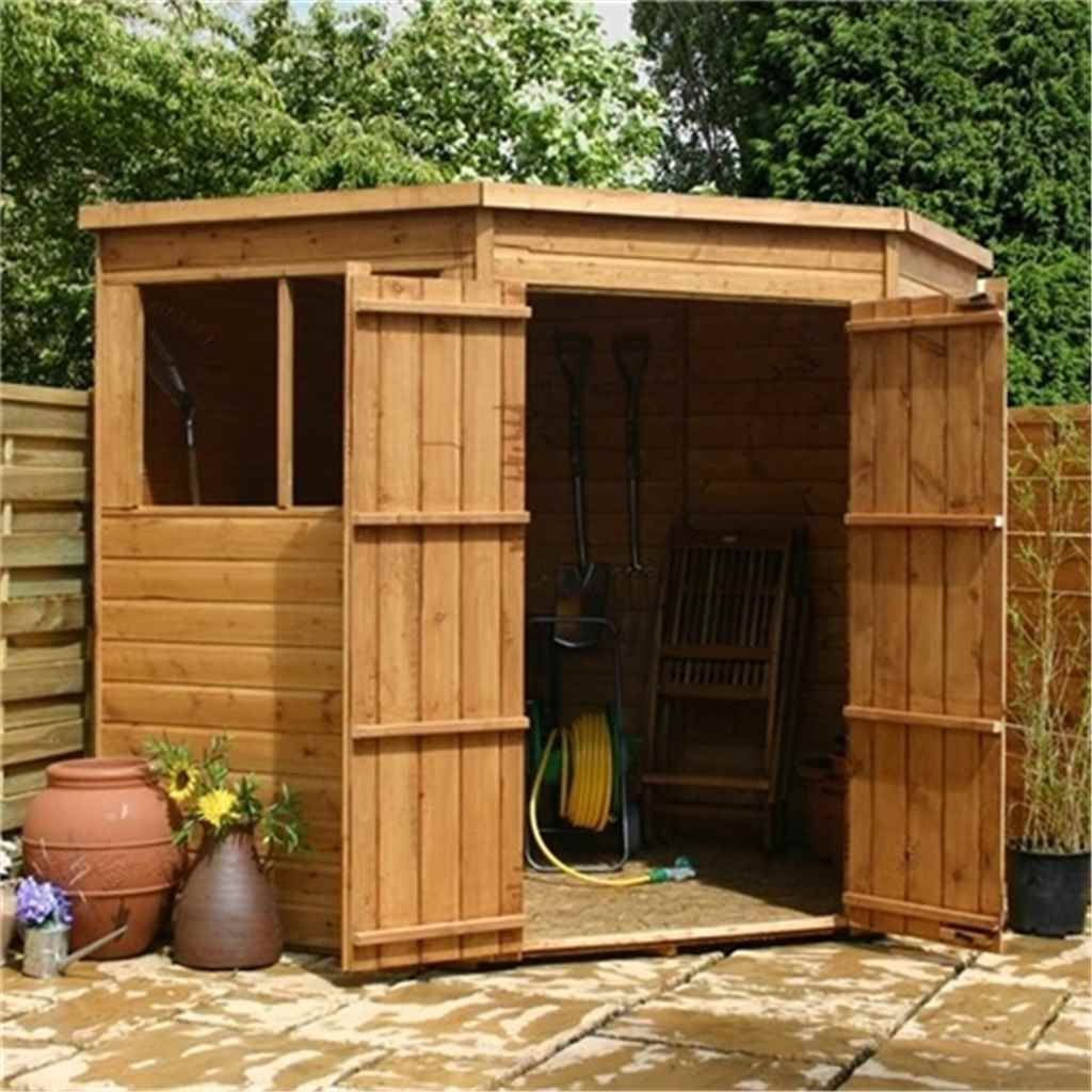 7ft x 7ft  Tongue And Groove Corner Shed With Double Doors + 2 Windows (10mm Solid OSB Floor)
