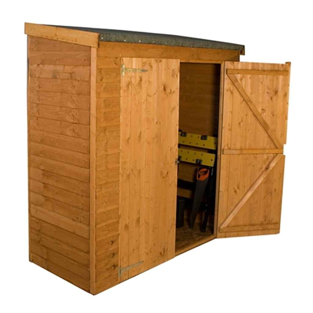 6ft x 2.6ft Overlap Pent Storage Shed With Double Doors (10mm Solid OSB Floor)