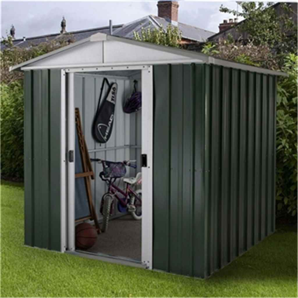 """6'1"""" x 4'1"""" Apex Metal Shed With Free Anchor Kit (1.86m x 1.25m)"""
