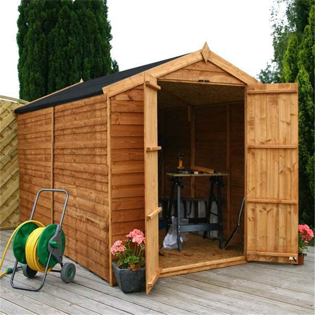 10ft x 6ft Windowless Overlap Apex Shed With Double Doors (10mm Solid OSB Floor)