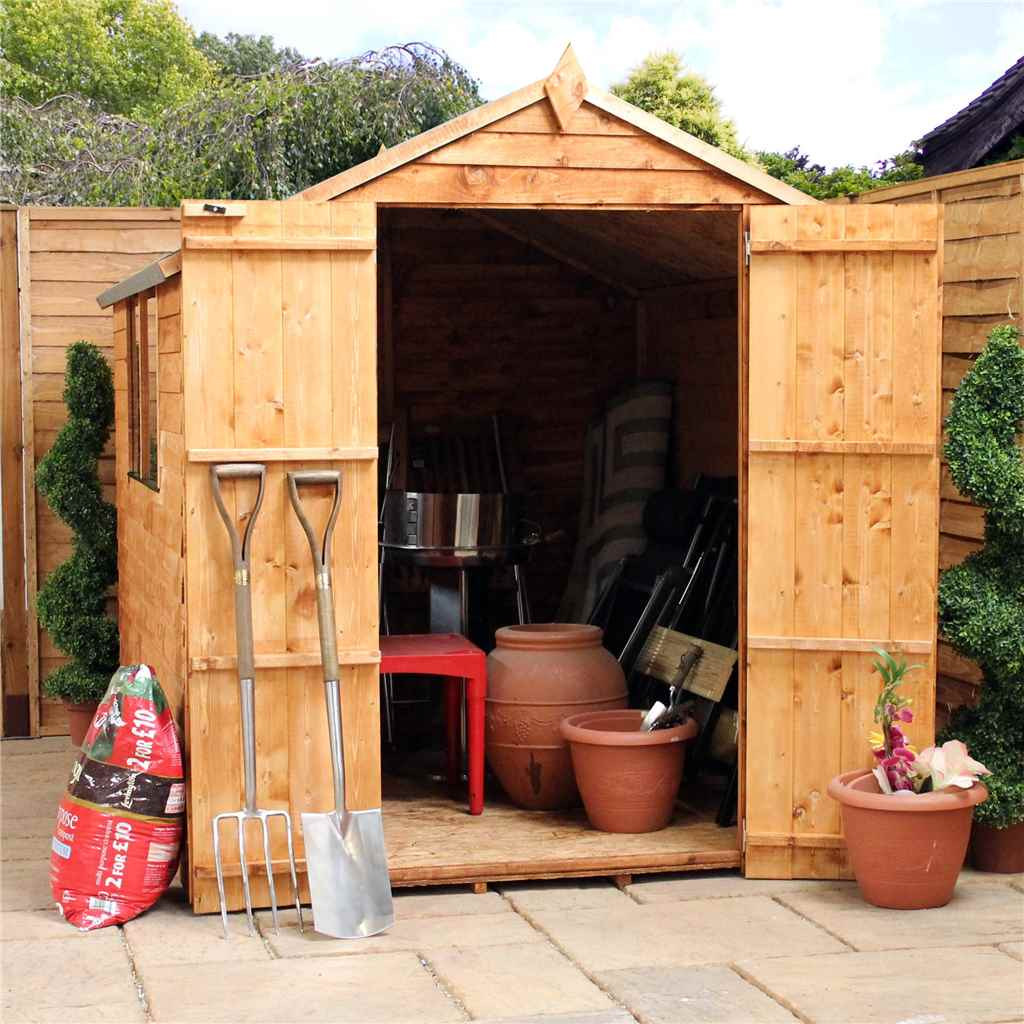 8ft x 6ft Buckingham Overlap Apex Shed With Double Doors + 2 Windows (Solid 10mm OSB Floor)