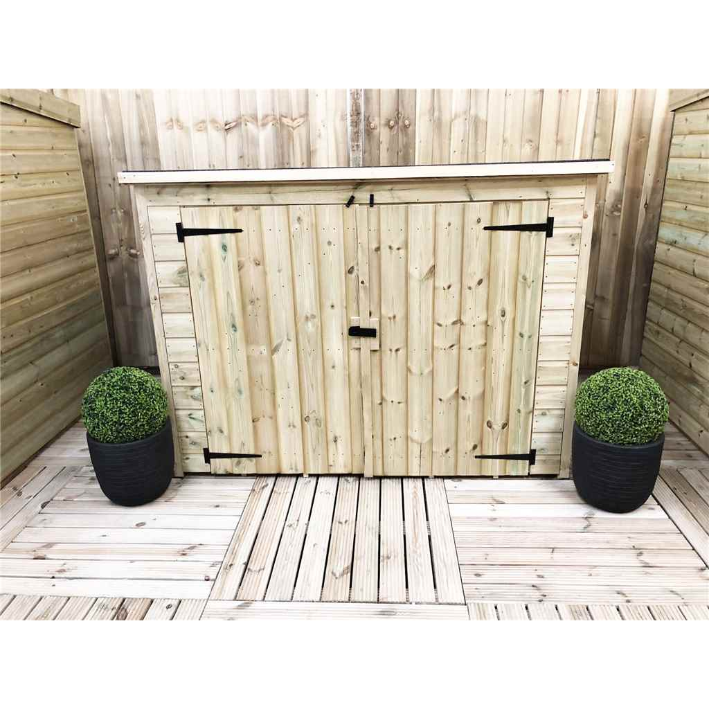 7FT x 4FT Pressure Treated Tongue And Groove Bike Store With Double Doors