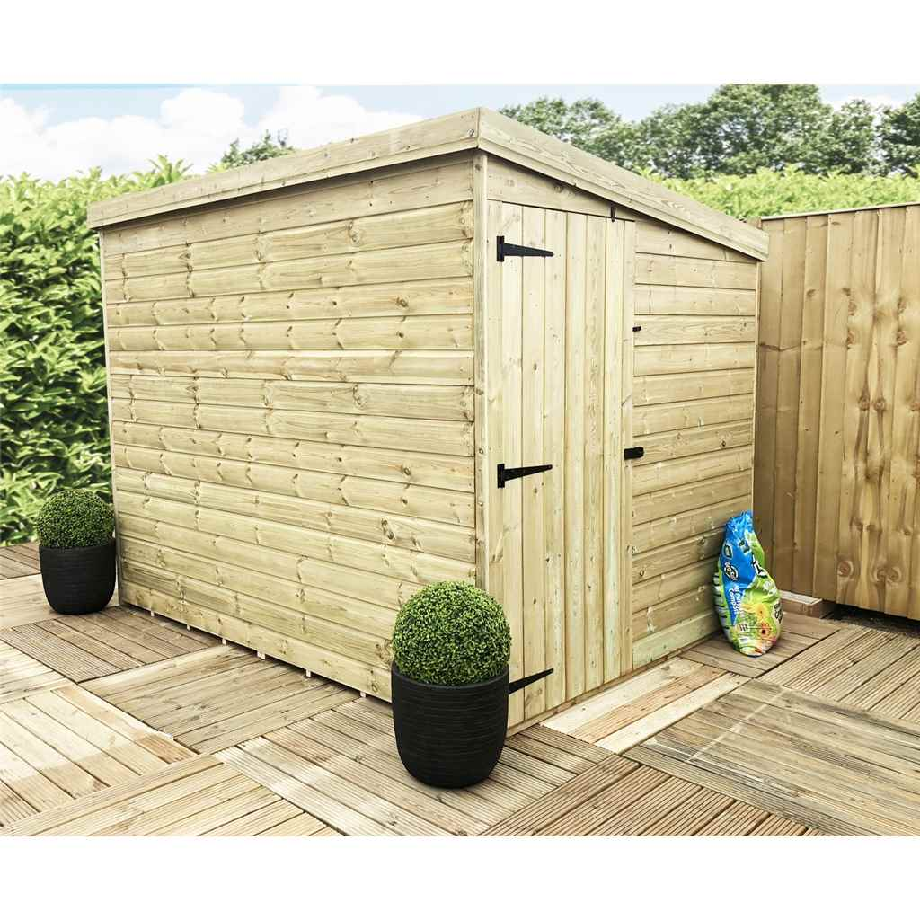 7FT x 5FT Windowless Pressure Treated Tongue And Groove Pent Shed With Side Door (Please Select Left Or Right Door)
