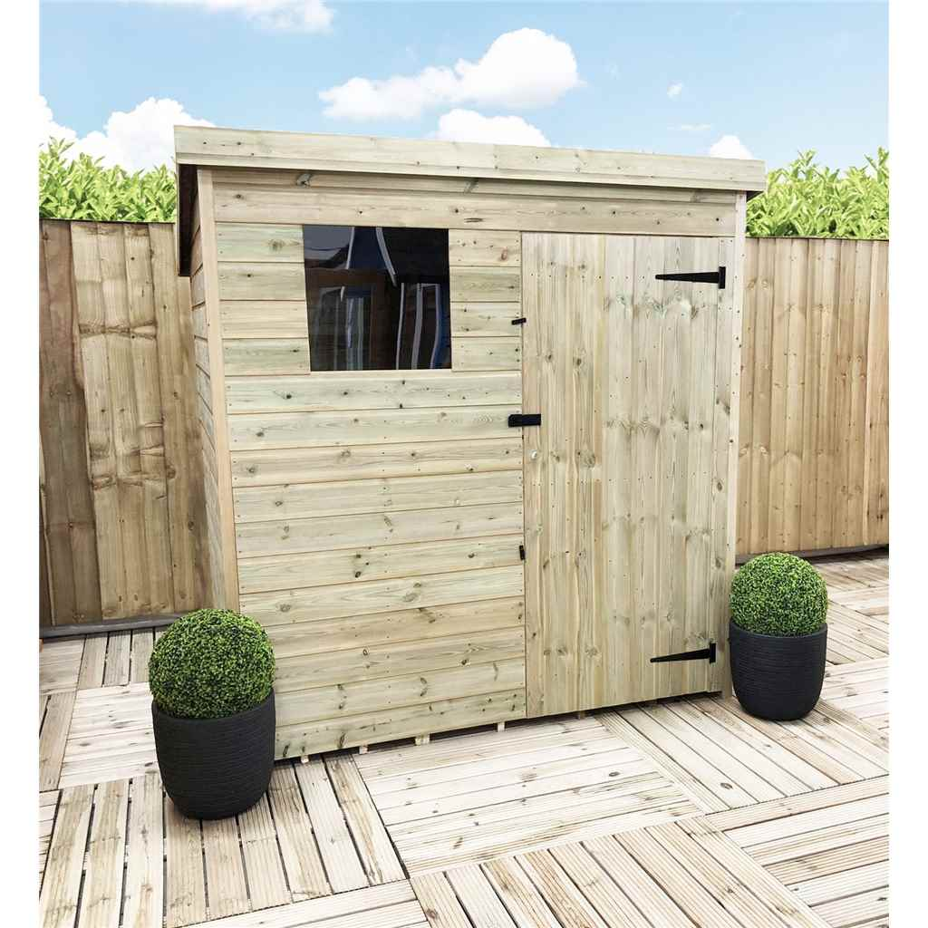 6FT x 4FT Pressure Treated Tongue And Groove Pent Shed with 1 Window and Single Door (Please Select Left Or Right Door)