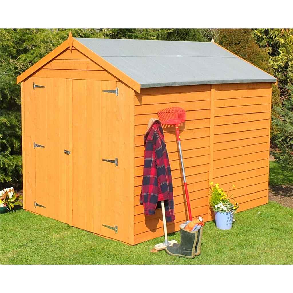 8ft x 6ft Premier Overlap Apex Windowless Garden Shed Dip-Treated (10mm Solid OSB Floor)