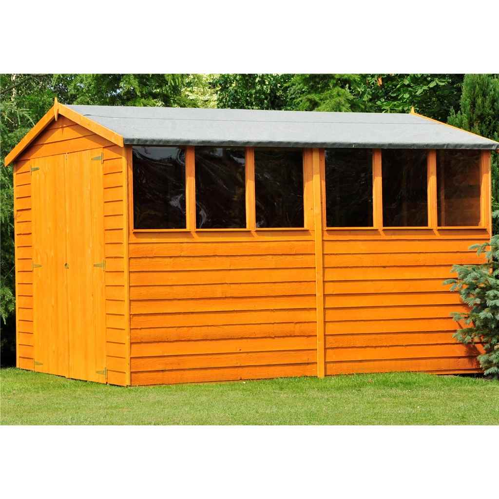 10ft x 6ft Premier Dipped Overlap Apex Garden Shed (10mm Solid Osb Floor) + 6 Windows