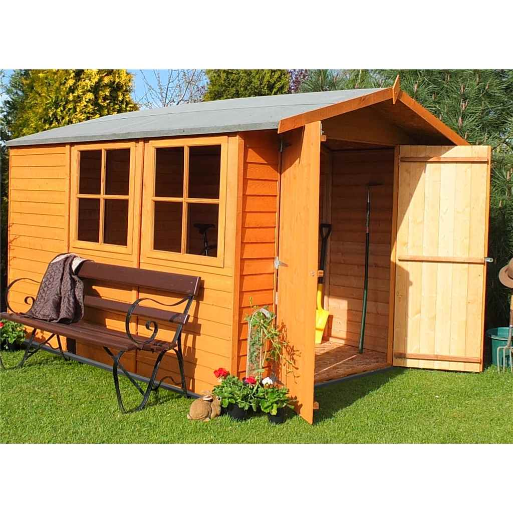 10ft x 7ft Premier Dipped Overlap Apex Garden Shed (10mm Solid Osb Floor) + 2 Opening Windows