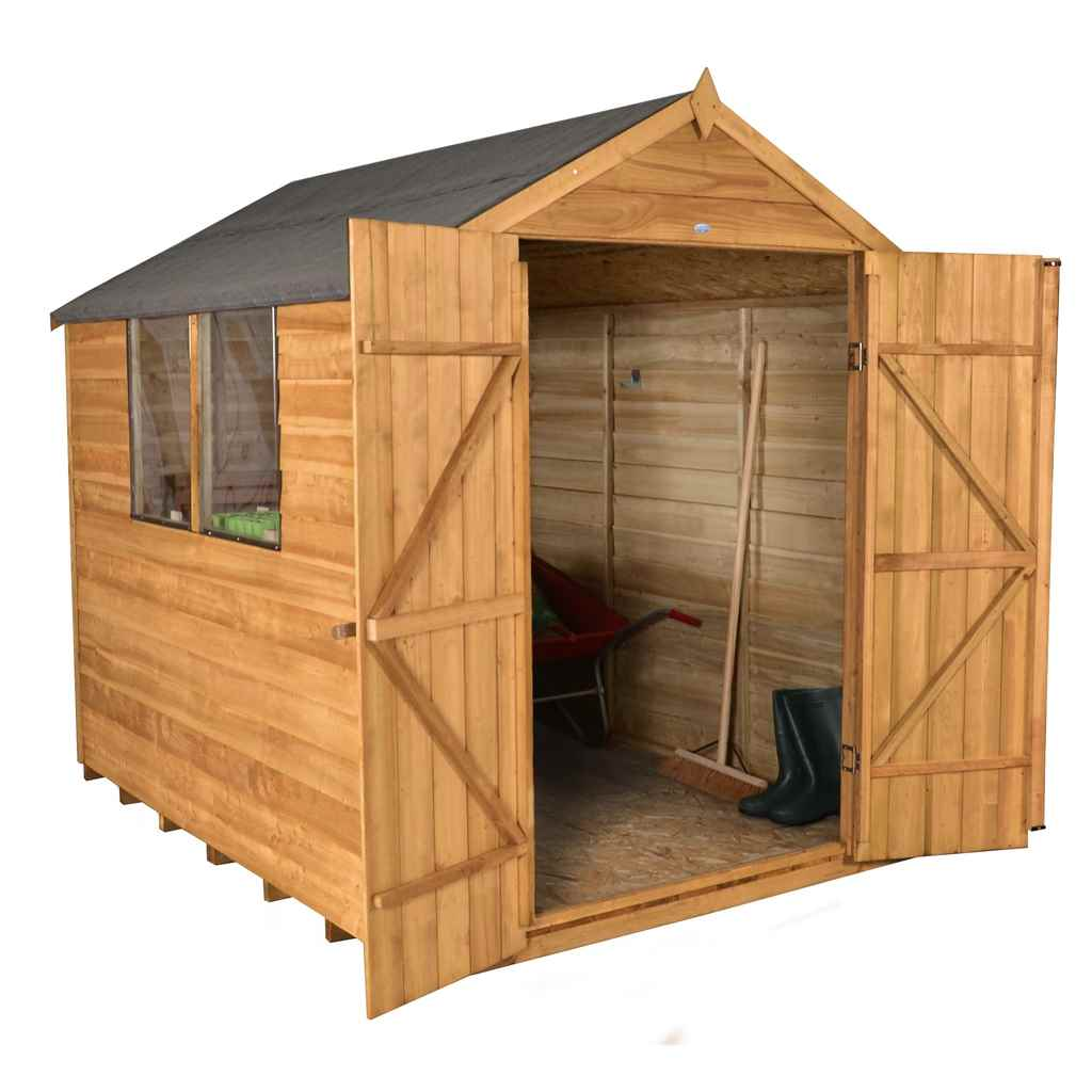 8ft x 6ft (2420mm x 2030mm) Overlap Apex Wooden Garden Shed With 2 Windows And Double Doors