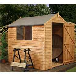 7 x 5 Overlap Apex Shed With Single Door + 2 Windows (10mm Solid OSB Floor and Roof)