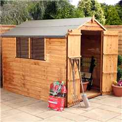 8ft x 6ft Overlap Apex Shed With Double Doors With Double Doors + 2 Windows (Solid 10mm OSB Floor)