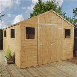 12ft x 10ft Deluxe Tongue and Groove Workshop With Double Doors + 4 Windows (12mm Tongue and Groove Floor and Roof)