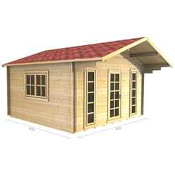 4m x 4m (13 x 13) Apex Log Cabin (2051) - Double Glazing + Single Door - 34mm Wall Thickness