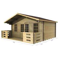 5m x 3m (16 x 10) Apex Log Cabin (2089) - Double Glazing + Double Doors - 34mm Wall Thickness