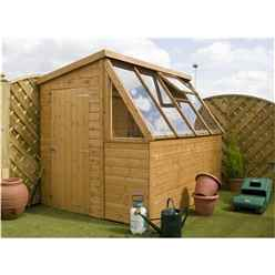 8 x 6 Premier Potting Shed + Free Potting Bench With Single Door (Door Can Be Placed Either End) + Windows