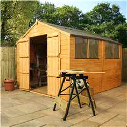 10ft x 8ft Tongue and Groove Apex Shed With Double Doors + 4 Windows (10mm Solid OSB Floor)