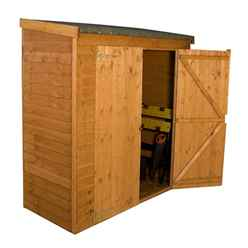 6 x 2.6 Overlap Pent Storage Shed With Double Doors (10mm Solid OSB Floor)