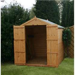 6ft x 6ft Tongue and Groove Apex Windowless Shed With Double Doors (Solid 10mm OSB Floor)