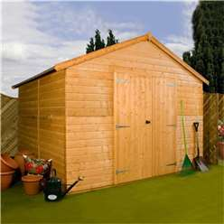 12ft x 10ft Windowless Deluxe Tongue and Groove Workshop (12mm Tongue and Groove Floor and Roof) ***Extended Delivery Typically 14 Working Days As Treated As Special
