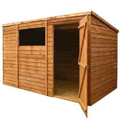 10 x 6 Cambridge Overlap Pent Shed With Single Door + 1 Window (10mm Solid OSB Floor)