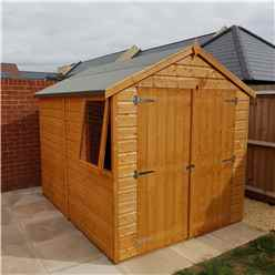 8ft x 6ft Tongue and Groove Apex Garden Shed / Workshop with Double Doors (10mm OSB Floor)
