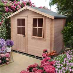 2.39m x 2.39m Log Cabin + Half Glazed Single Door - 19mm Wall Thickness