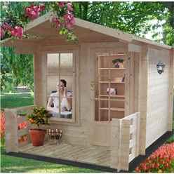 2.39m x 2.39m Log Cabin + Fully Glazed Single Door - 19mm Wall Thickness + optional veranda