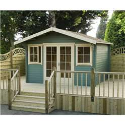 4.74m x 4.19m Log Cabin + Fully Glazed Double Doors- 28mm Wall Thickness