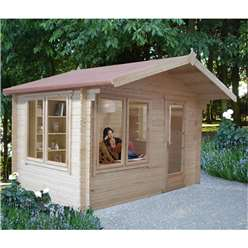 3.59m x 3.59m Log Cabin + Fully Glazed Single Door - 28mm Wall Thickness