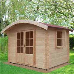 2.99m x 2.39m Log Cabin + Half Glazed Double Doors (2.99m x 2.39m) - 28mm Wall Thickness