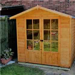 7 x 5 Summerhouse + Fully Glazed Double Doors (12mm Tongue and Groove Floor)