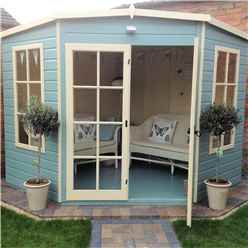 8 x 8 Corner Summerhouse + Fully Glazed Double Doors (12mm Tongue and Groove Floor)