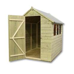 6 x 5 Pressure Treated Tongue And Groove Apex Shed With 3 Windows With Single Door