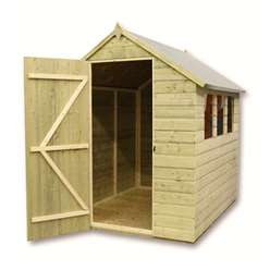 8 x 5 Pressure Treated Tongue And Groove Apex Shed With 4 Windows With Single Door