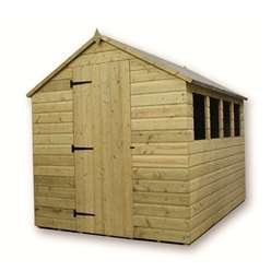8 x 6 PRESSURE TREATED TONGUE AND GROOVE APEX SHED WITH 4 WINDOWS AND SINGLE DOOR