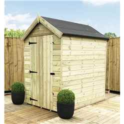 6 x 4 PREMIER WINDOWLESS PRESSURE TREATED TONGUE AND GROOVE APEX SHED WITH HIGHER EAVES AND RIDGE HEIGHT AND SINGLE DOOR