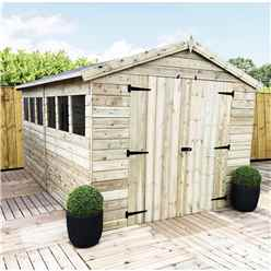 12FT x 6FT PREMIER PRESSURE TREATED TONGUE AND GROOVE APEX SHED WITH HIGHER EAVES AND RIDGE HEIGHT 4 WINDOWS AND DOUBLE DOORS
