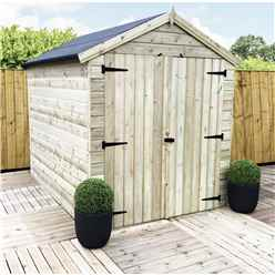 7 x 6 WINDOWLESS PREMIER PRESSURE TREATED TONGUE AND GROOVE APEX SHED WITH HIGHER EAVES AND RIDGE HEIGHT AND DOUBLE DOORS