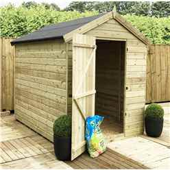 7 x 6 PREMIER WINDOWLESS PRESSURE TREATED TONGUE AND GROOVE APEX SHED WITH HIGHER EAVES AND RIDGE HEIGHT AND SINGLE DOOR