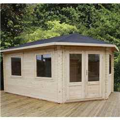 5m x 3m Extended Corner Log Cabin (Single Glazing) + Free Floor & Felt & Safety Glass (28mm) - Right Door