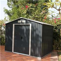 *PRE ORDER - DUE BACK IN STOCK 22ND AUGUST* 8 x 6 Select Anthracite Metal Shed (2.61m x 1.82m)