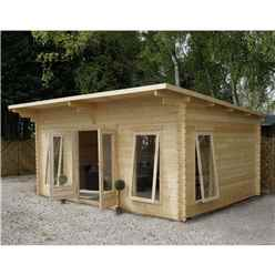 4m x 5.2m Modern Log Cabin (Single Glazing) + Free Floor & Felt & Safety Glass (34mm)