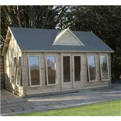 5.5m x 4m Traditional Clock House Log Cabin (Double Glazing) + Free Floor & Felt & Safety Glass (44mm Tongue and Groove)