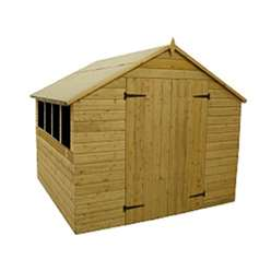 10FT x 8FT Pressure Treated Tongue And Groove Apex Shed With 4 Windows And Double Doors