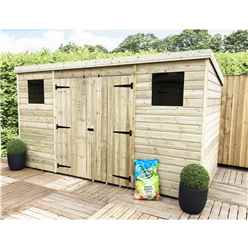 12 x 3 Pressure Treated Tongue And Groove Pent Shed With 2 Windows And Double Doors (Centre)