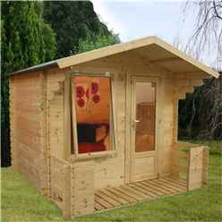 "2.5m x 2.72m Apex Log Cabin Including Verandah (2' 7"" 0.8m) - (19mm Tongue and Groove) + Free Floor & Felt & Safety Glass"